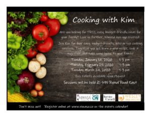 A flyer with a black back round with a variety of fresh produce on the left side.