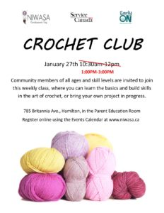 Crochet Club flyer that includes colorful balls of yarn and a white back round.
